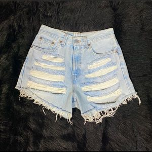 Levis high waisted shorts size 6 distressed light